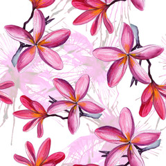 Seamless pattern with flowers and leaves. Floral background for wallpaper, paper and fabric. Watercolor painting with beautiful flowers. - Illustration