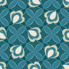 Seamless ornamental floral pattern with abstract flowers in monochrome blue colors. Vector geometric floral background in retro style