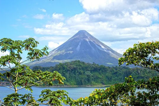 Arenal Volcano near the Lake Arenal in Costa Rica
