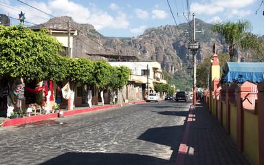 A cobblestone street in Tepoztlan, Morelos, Mexico.