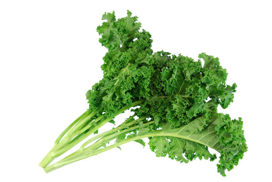 fresh green kale vegetable isolated on white background