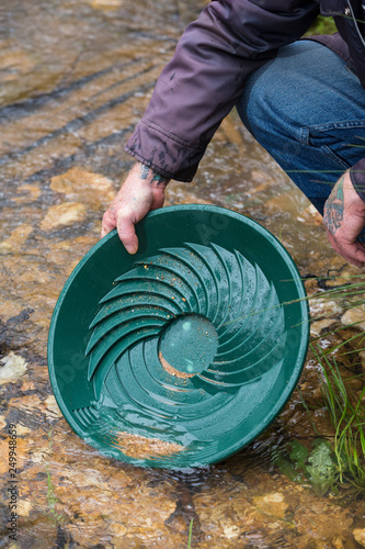 Prospector finding gold while panning in a stream in Victoria