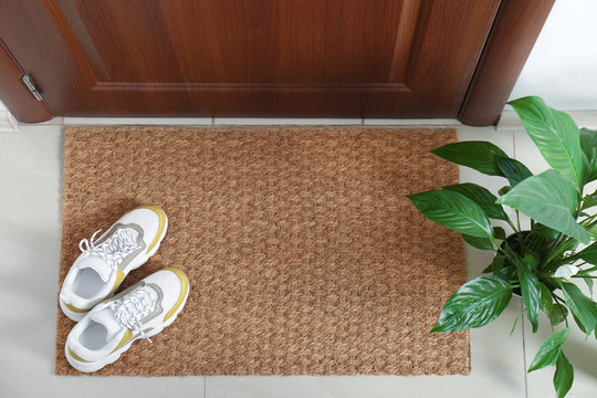 New clean mat with shoes near entrance door and houseplant, top view