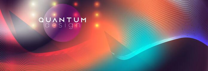 Neon spotlights on fluid abstract vector design