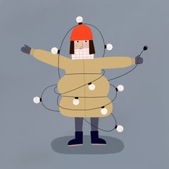 Winter lady with a big coat and a red hat wrapped in a light string