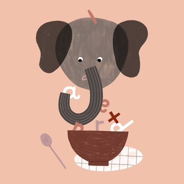 Sad elephant eating letter soup