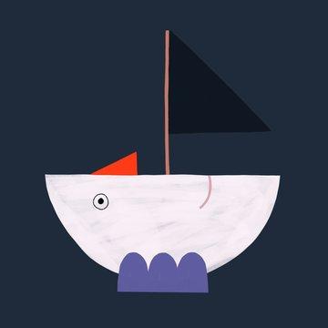 Moon boat sailing through the night