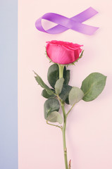 International Women's Day flat lay with pink rose, purple ribbon on pink and blue background with applied vintage wash filter.