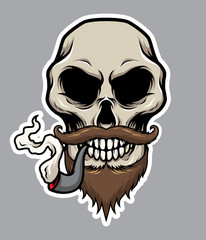 Pirate Skull With Pipe, Moustache, and Beard Illustration