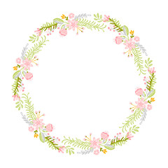 Spring flower herbs wreath. Flat abstract Vector garden frame, woman day romantic holiday, wedding invitation card decoration element summer floral Illustration isolated white background
