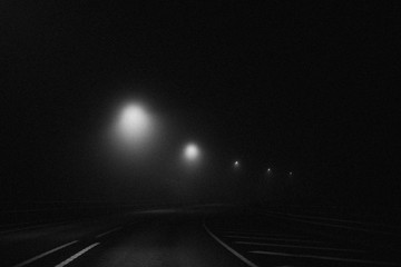 Curve road in the night