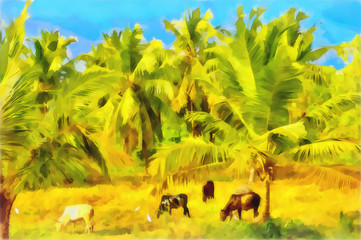 Watercolor rural landscape. Indian village