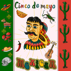 Fotobehang Klassieke abstractie illustration of the design of the flag sticker on the Mexican theme of Cinco de mayo celebration