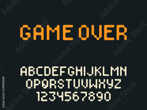 Vector pixel latin alphabet letters and numbers  Rounded