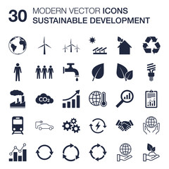 Sustainable development icons set (ecology, renewable energy, global warming concern, environmental protection, recycling) quality vector scalable with flat design for web or print