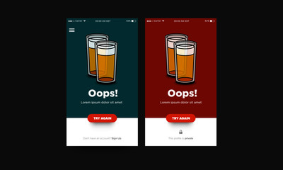 Oops Page UX Interface Design with Beer Glass Illustration