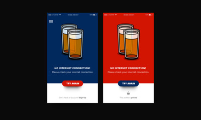 No Internet Connection Page UX Interface Design with Beer Glass Illustration