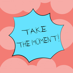 Writing note showing Take The Moment. Business photo showcasing Seize the day and opportunity be happy optimistic positive Explosion Blast Scream Speech Bubble for Promotion Ads