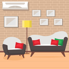 Living Room Design Flat Vector Illustration