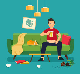 Lazy young fat man with glass of beer sitting on sofa in the Messy living room interior. Vector flat style illustration