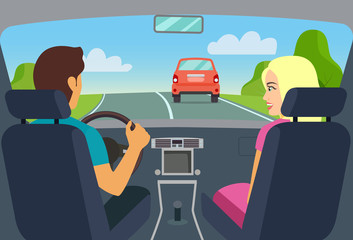 Man and woman sitting in the car. Vector flat style illustration