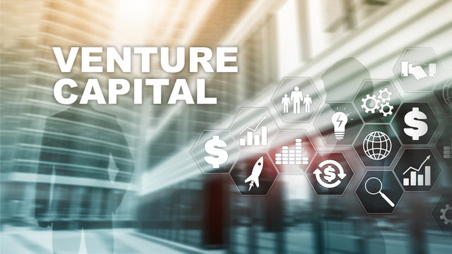 Venture Capital on Virtual Screen. Business, Technology, Internet and network concept. Abstract background