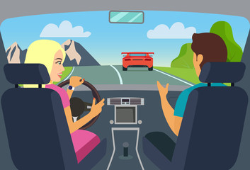 Woman and man sitting in the car. Travelling by car. Vector flat style illustration