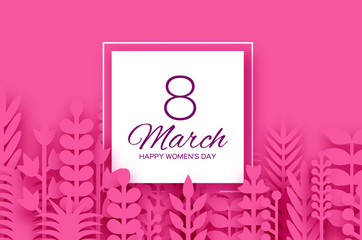 8 March. Origami Spring Flowers for Happy Womens day. Mixed pink Paper cut outs plants, flowers, palm tropical leaves for window display. Square frame for text. Mothers Day. Happy holidays.
