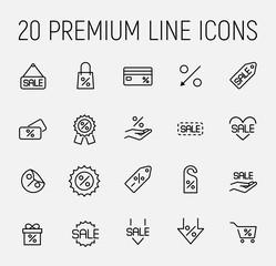 Premium set of discount line icons.