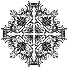 Black vintage baroque ornament, corner. Retro pattern antique style acanthus.