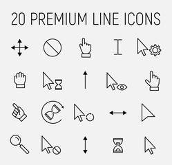 Set of cursor icons in modern thin line style.