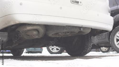 Old Diesel Car Exhaust Pipe Diesel Cold Start Smoke Winter Stock