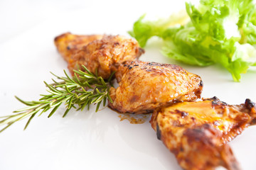 Fried chiken wings isolated on white background
