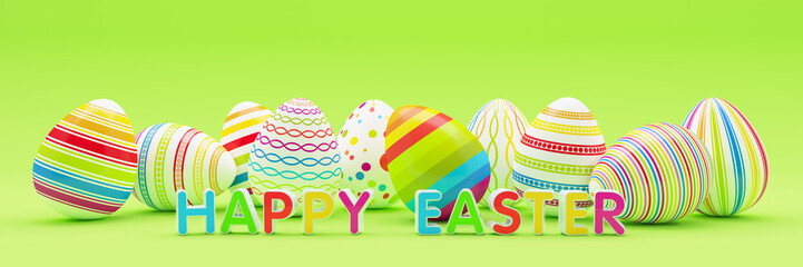 3d render - ten colorfu Easter eggs on blue background - happy easter