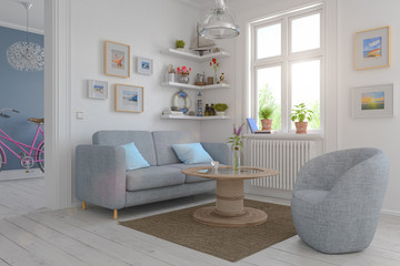 3d render of a Scandinavian apartment - living room