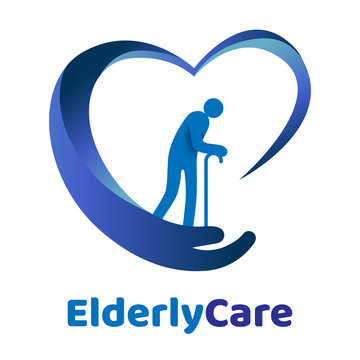 Elderly healthcare heart shaped logo. Nursing home sign.