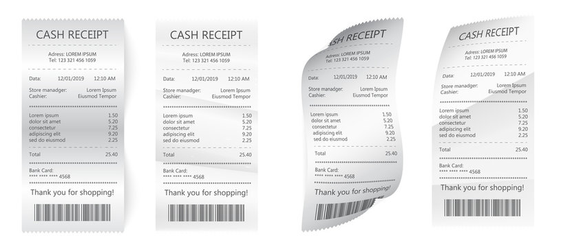 Realistic payment paper bills for cash or credit card. Paper check and financial check isolated.