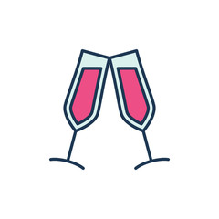 Two Glasses with Red Wine vector modern icon. Couple of glasses creative symbol on white background