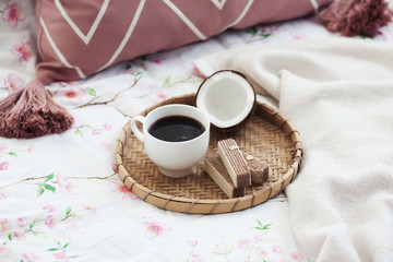 cup of morning coffee, waffles and coconut, breakfast , weekend in a cozy bed