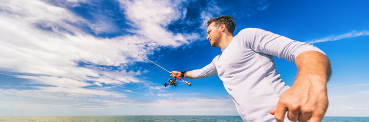 Fishing man casting line fisherman outdoor on blue sky banner background. Sport fishing fish.