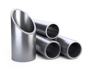Steel pipes profile stack.