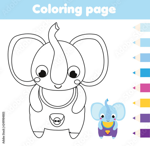Coloring page with elephant. Drawing kids activity. Printable fun ...