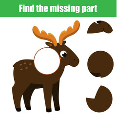 Puzzle for toddlers. Find the missing part of picture. Educational children game. animals theme.