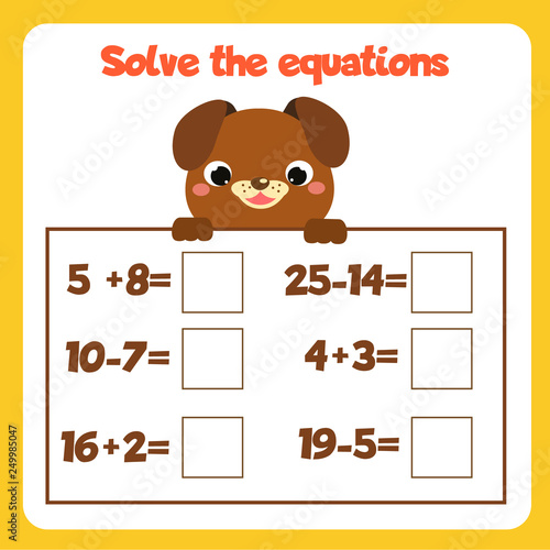 Math educational game for children. Solve equations ...