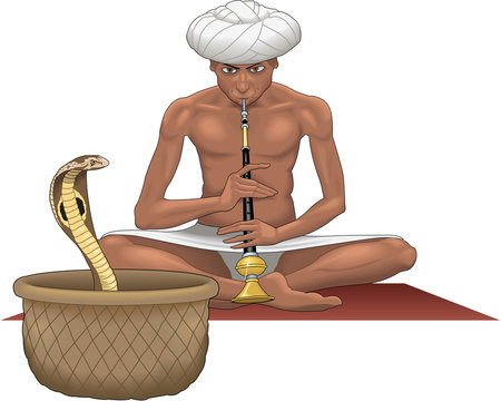 Snake Charmer Vector Illustration