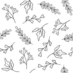 Vector floral seamless pattern with hand drawn plants
