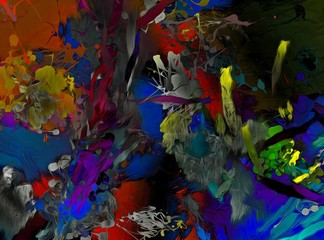 abstract psychedelic background from color chaotic brush strokes of different brush sizes watercolor stylization