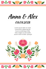 Vintage flowers wedding save the date card template vector. Hungarian folk pattern. Kalocsa embroidery floral ethnic ornament. Background for summer marriage invitation, birthday party.
