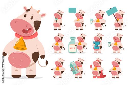 Cute cows with gold bell, milk, speech bubble, blank board, in