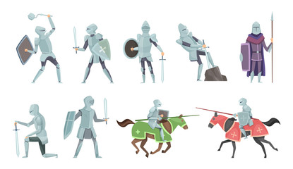 Knight. Chivalry prince medieval fighters brutal warriors on horse battle vector cartoon illustrations. Templar and equestrian, royal mediaeval horseman Wall mural